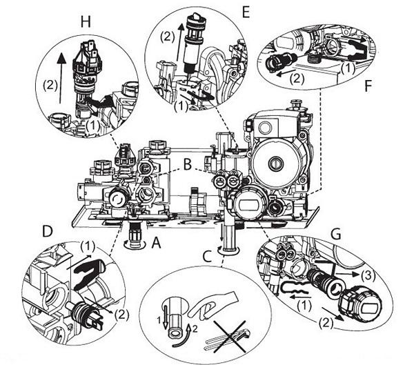 Схема демонтажа фильтров обратной подачи и системы ГВС